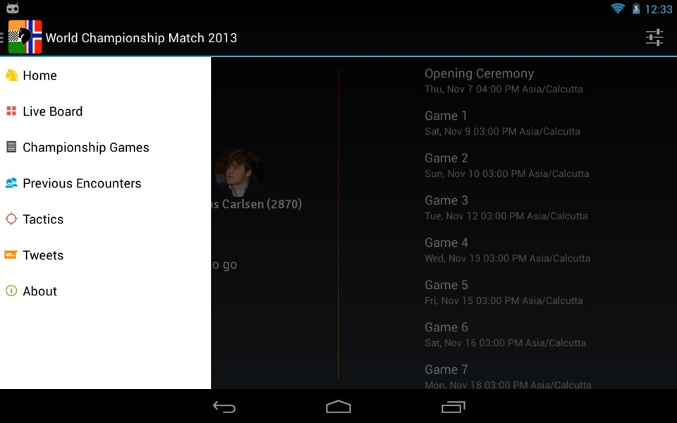 Official App of the FIDE World Championship Match 2013