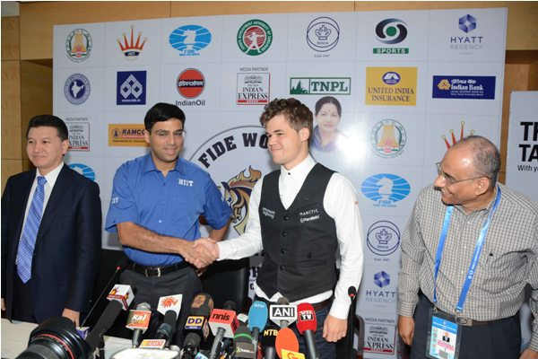 Anand and Carlsen during the opening press conference