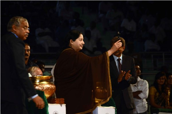 Chief Minister Ms J Jayalalithaa doing the drawing of lots
